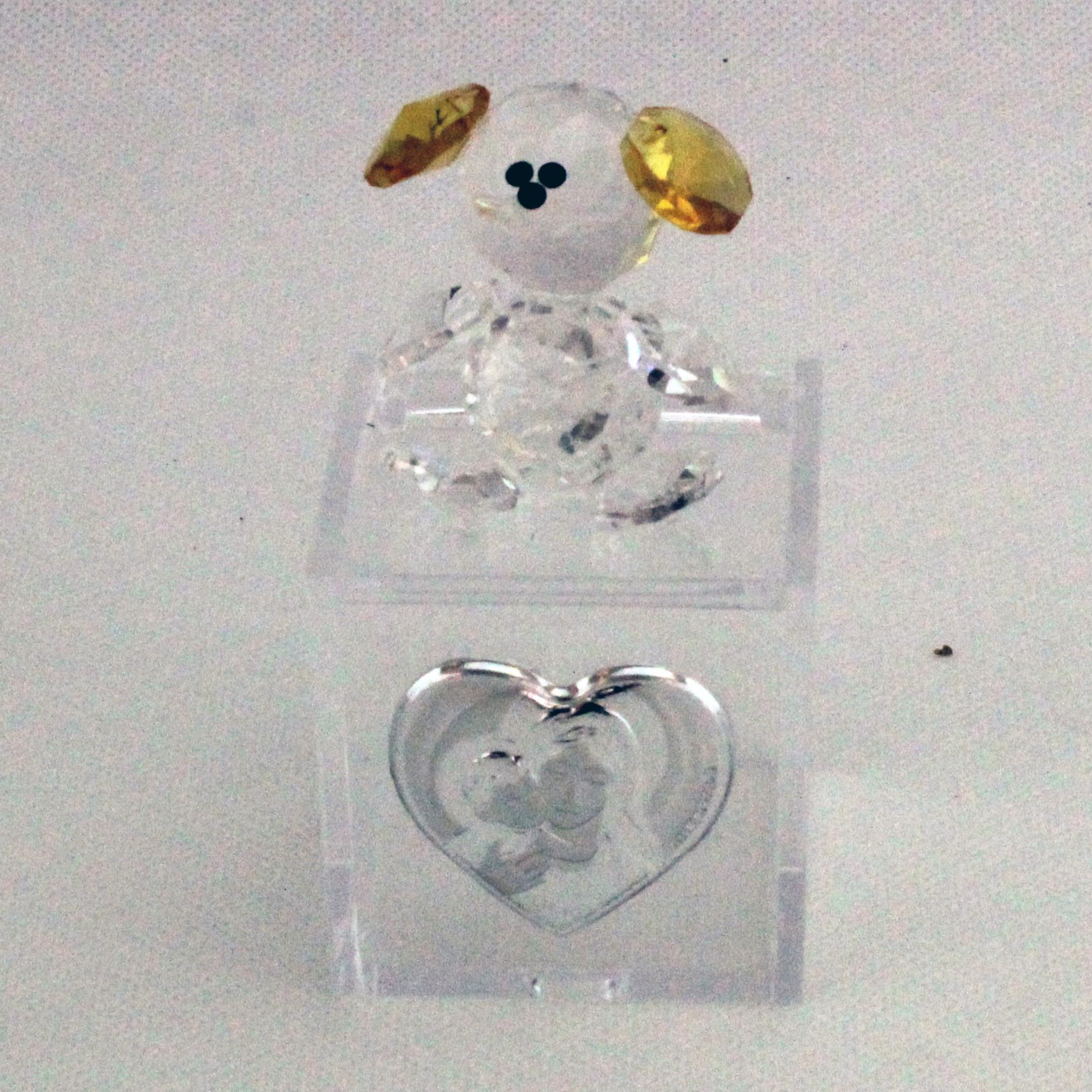 Scatoline in plexiglas con Orsetto in cristallo e piastra Madonna con Bambino