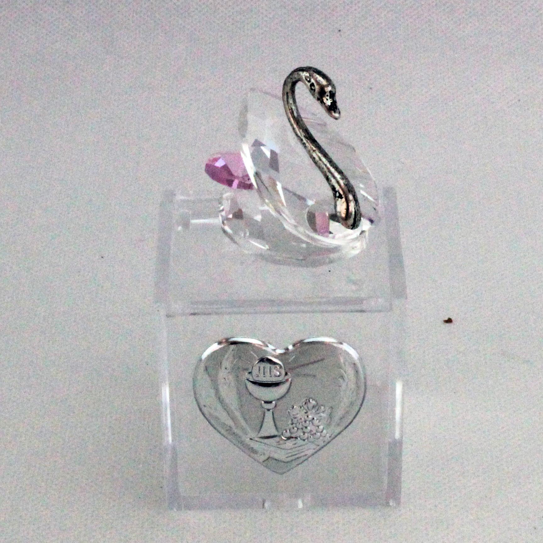 Scatoline in plastica con Cigno in cristallo e piastra Comunione