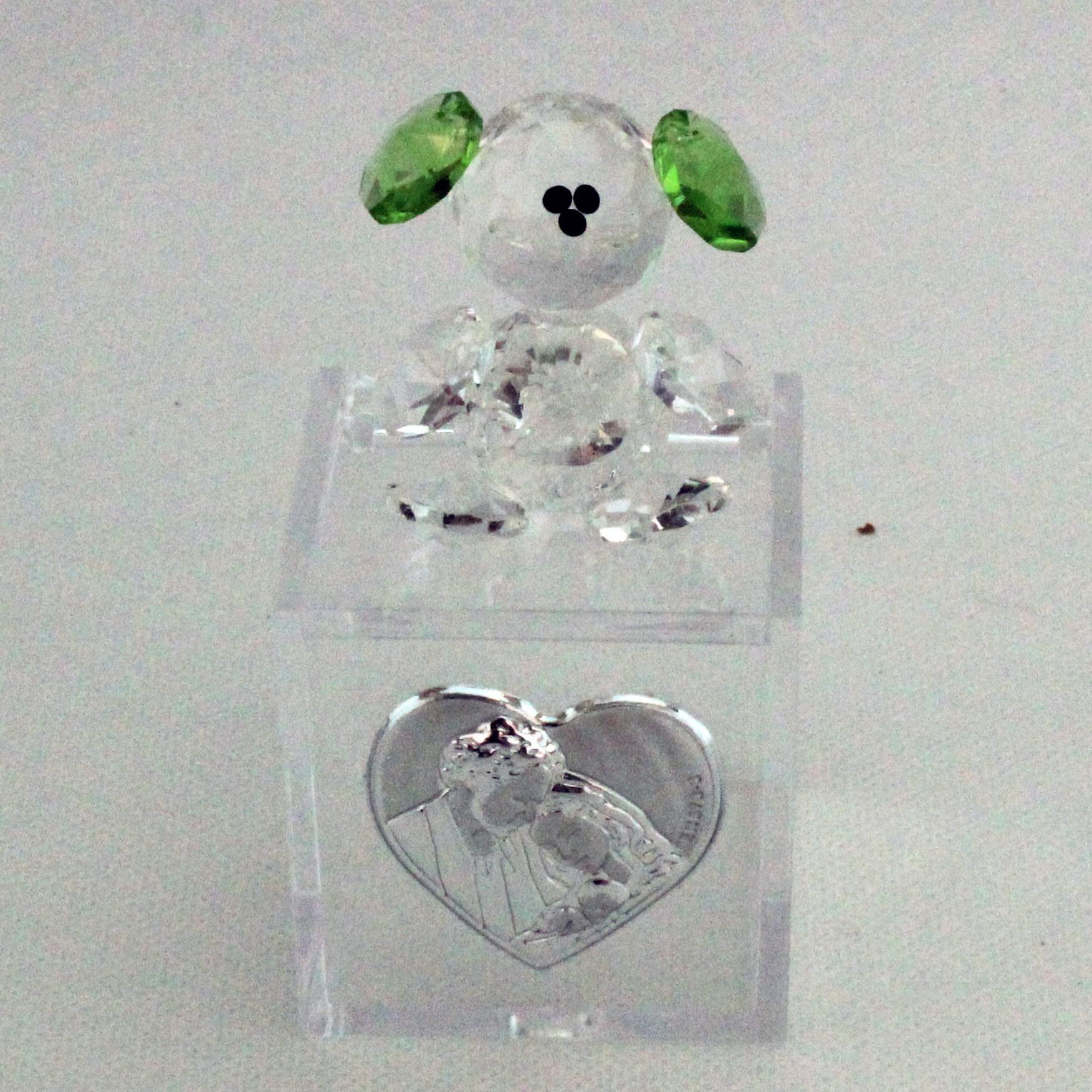 Scatoline in plexiglas con Orsetto in cristallo e piastra Sacra Famiglia