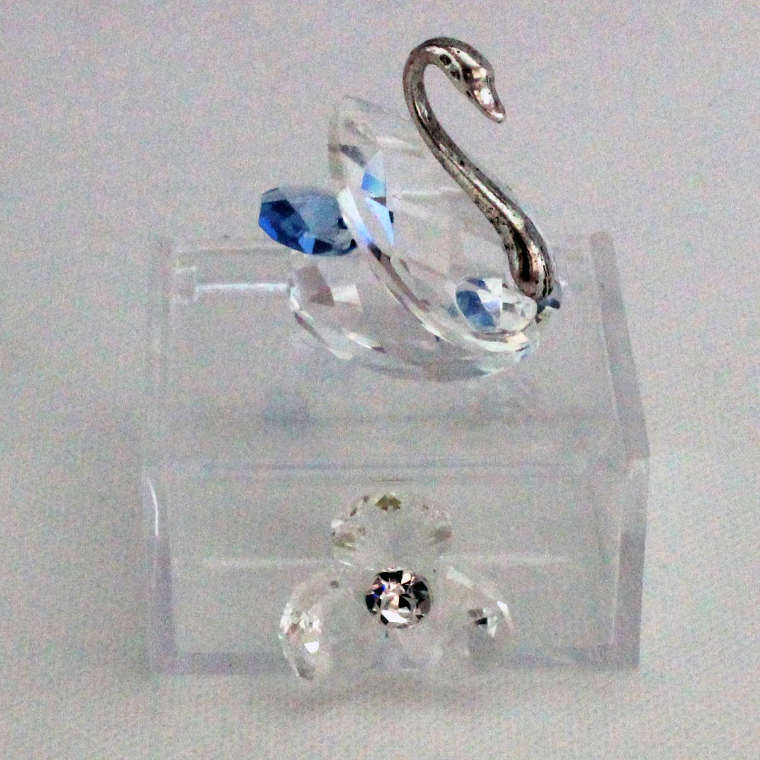 Scatoline in plastica con Cigno e Fiore in cristallo