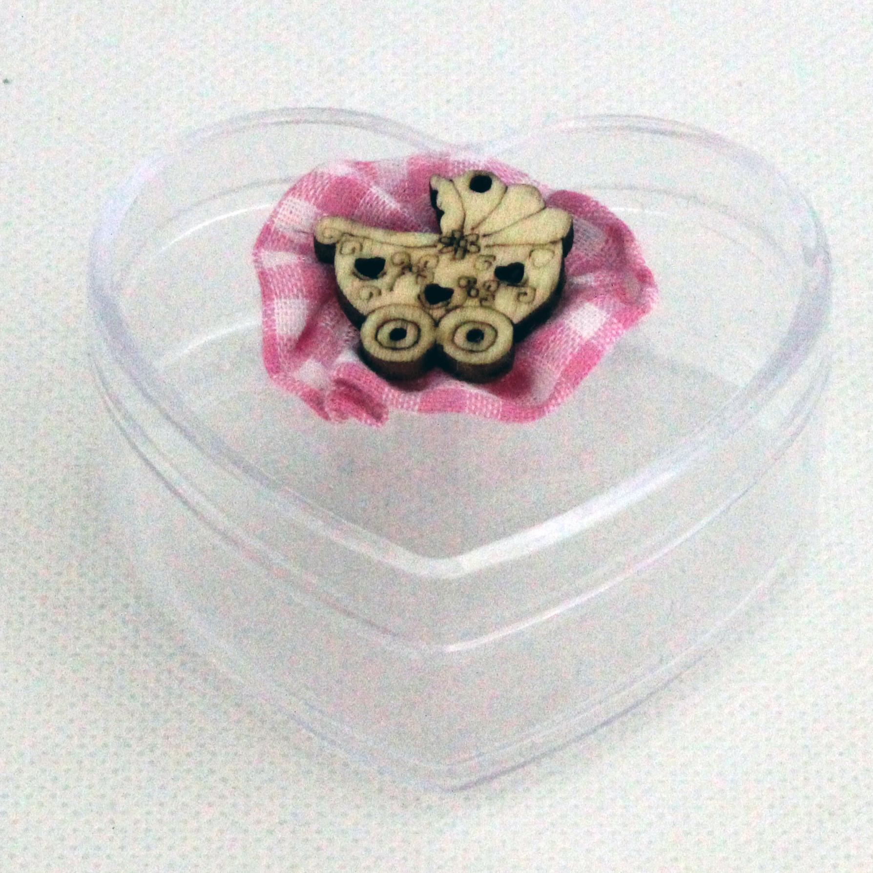 Scatolina cuore in plastica rigida nascita bimba modelli assortiti