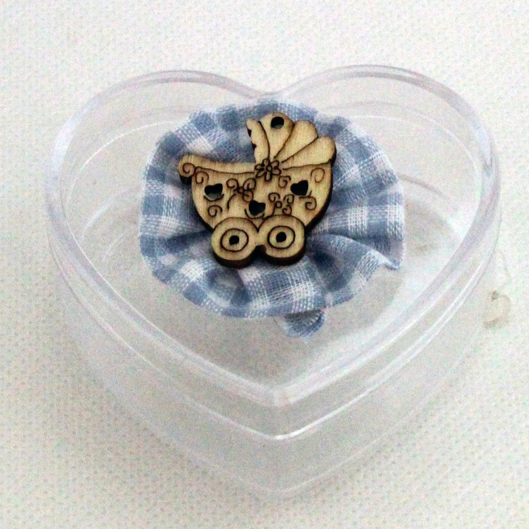 Scatolina cuore in plastica rigida nascita bimbo modelli assortiti