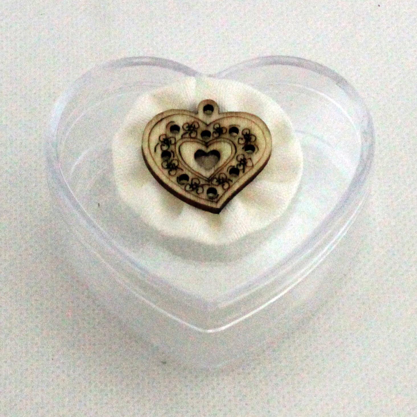 Scatolina cuore in plastica rigida fiore farfalla per matrimonio nascita compleanno