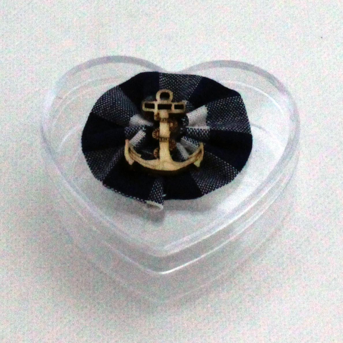 Scatolina cuore in plastica rigida nascita bimbo marinaio ancora timone