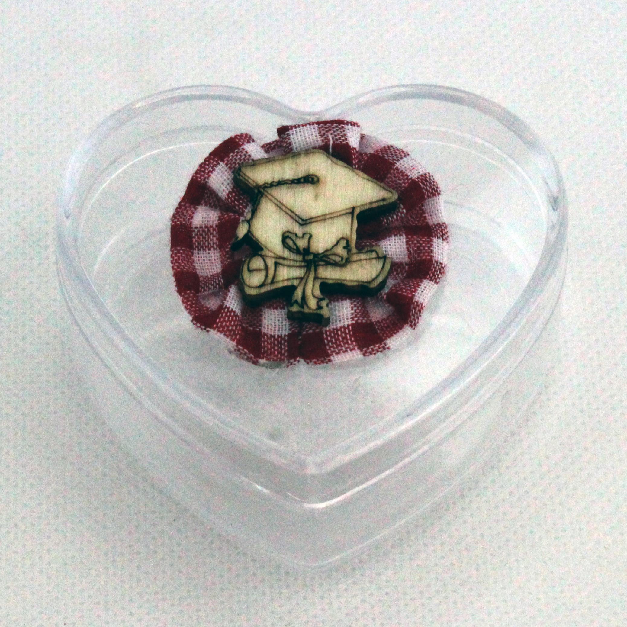 Scatolina cuore in plastica rigida rossa per laurea (kit 24 pezzi)