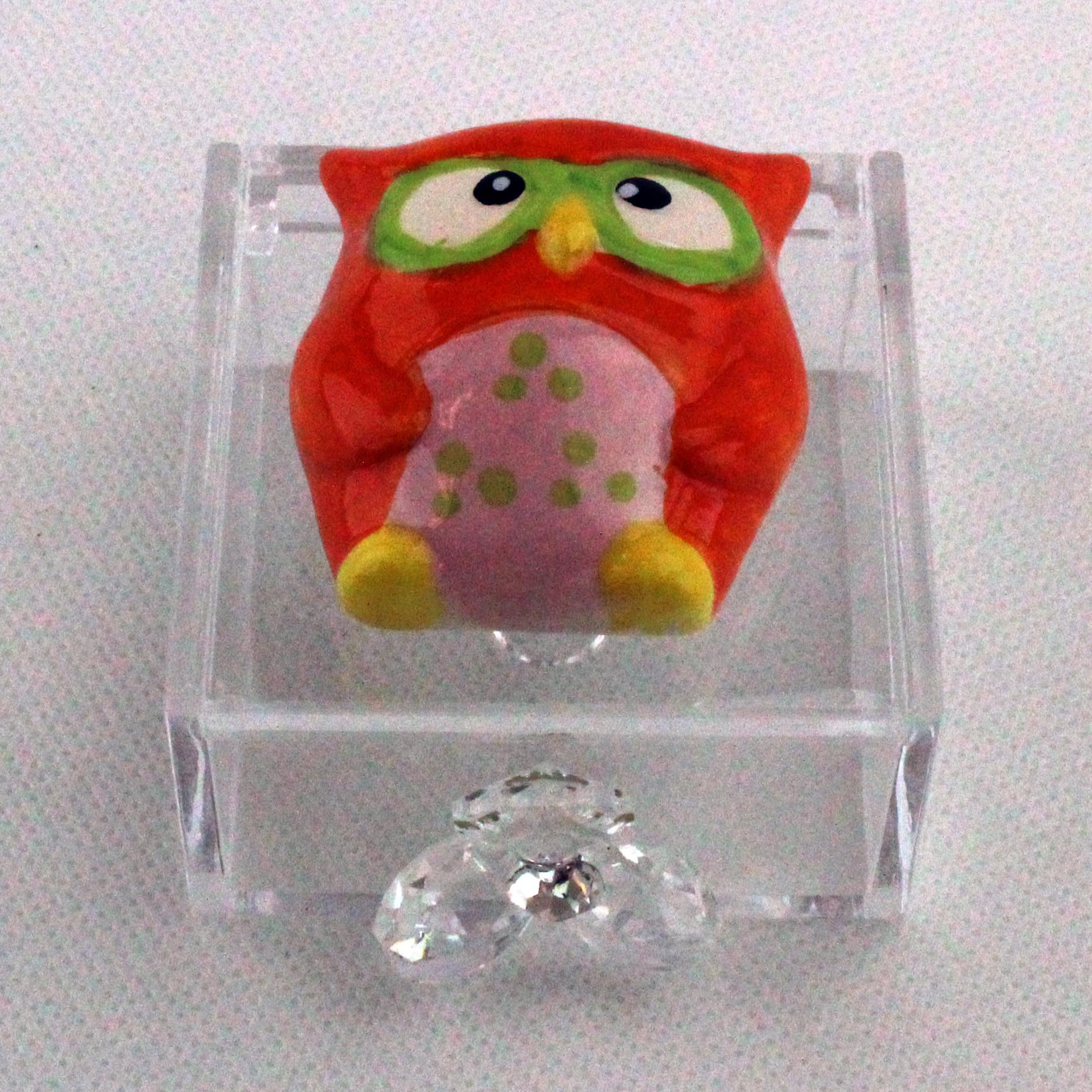 Scatoline in plexiglas con Gufetto e Fiore in cristallo