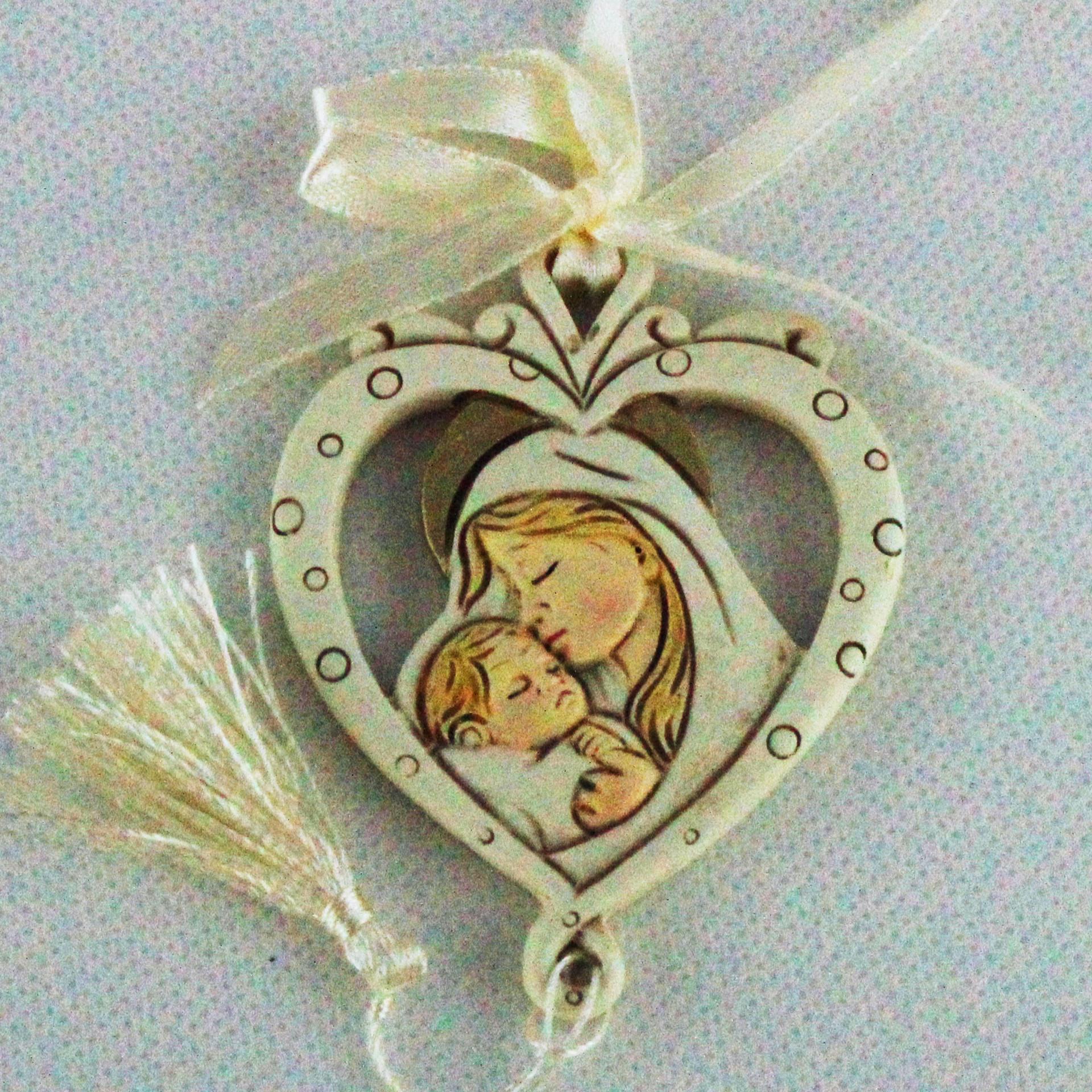 Icona cuore appendino Madonna con bambino