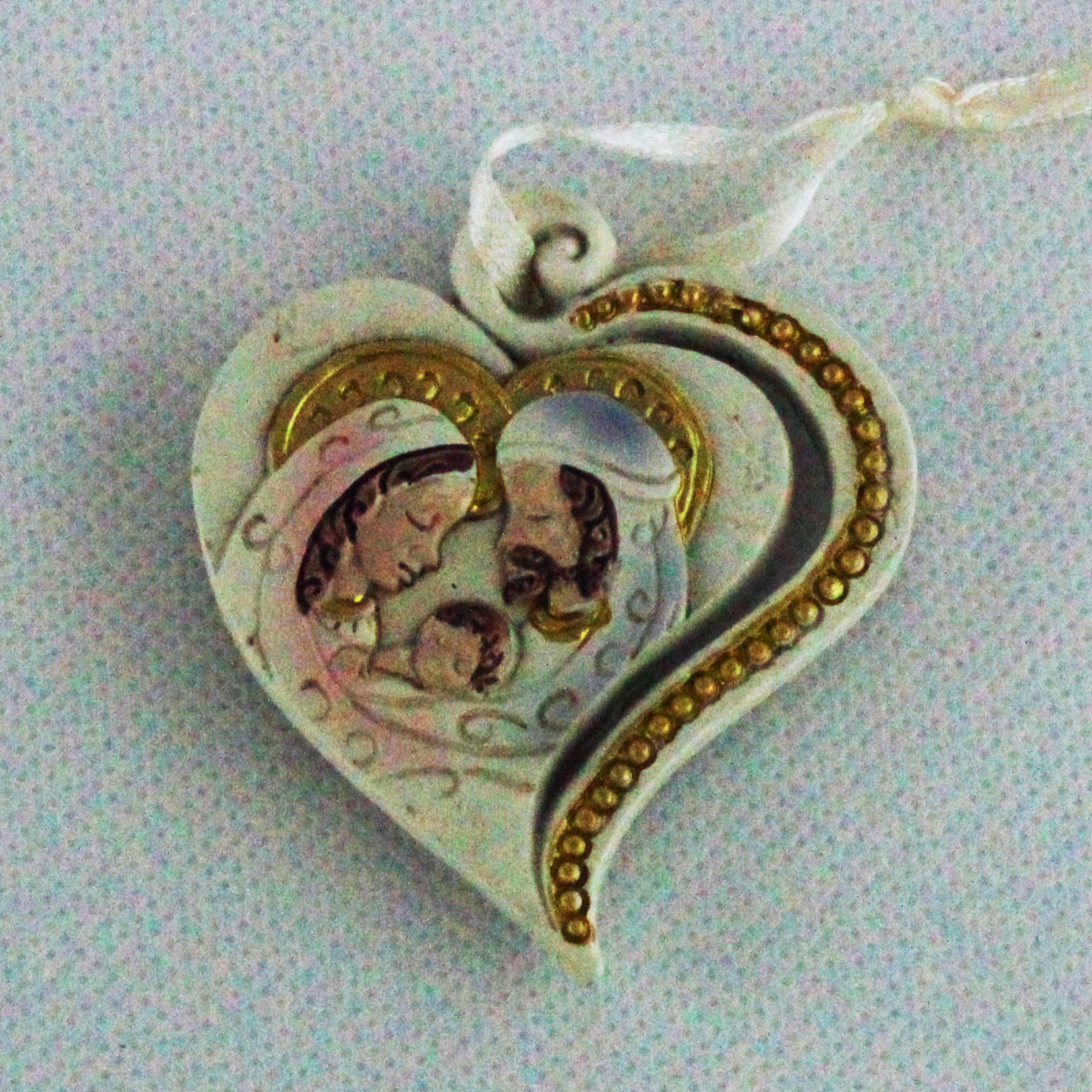 Calamita icona cuore appendino Sacra Famiglia