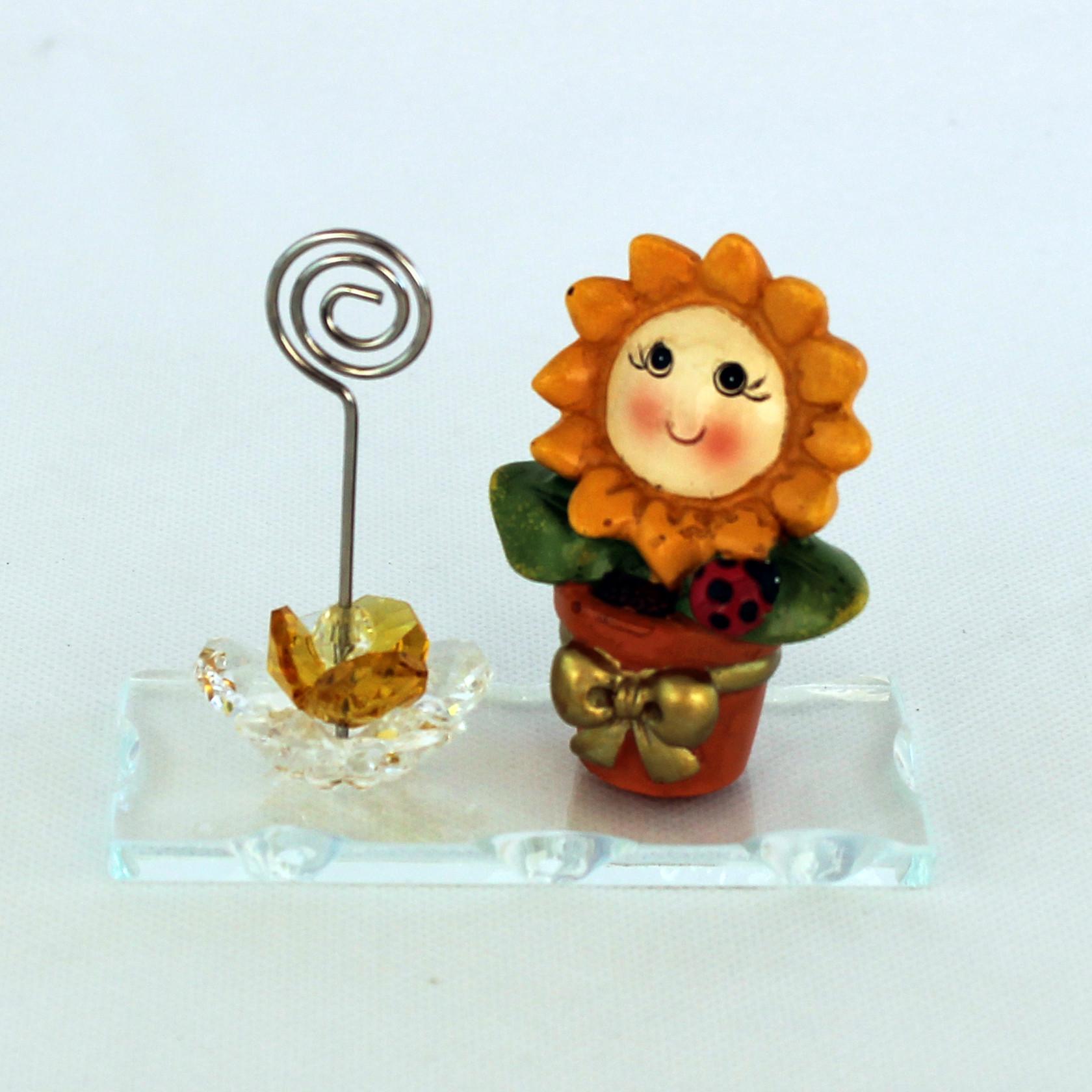 Portafoto Vasetto con Fiore in cristallo per Bambina