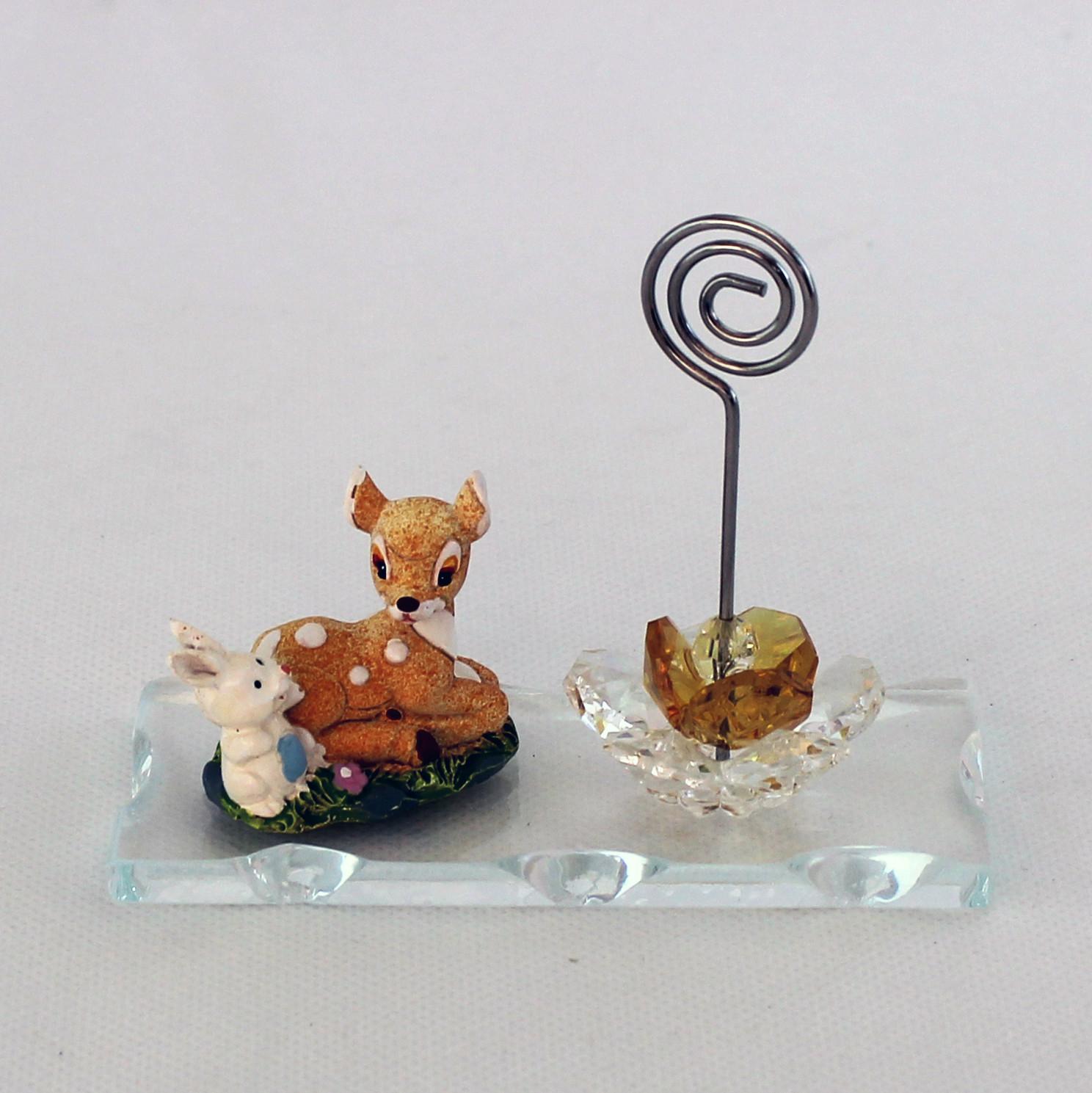 Portafoto Cerbiatto con Fiore in cristallo (kit 6 pezzi)