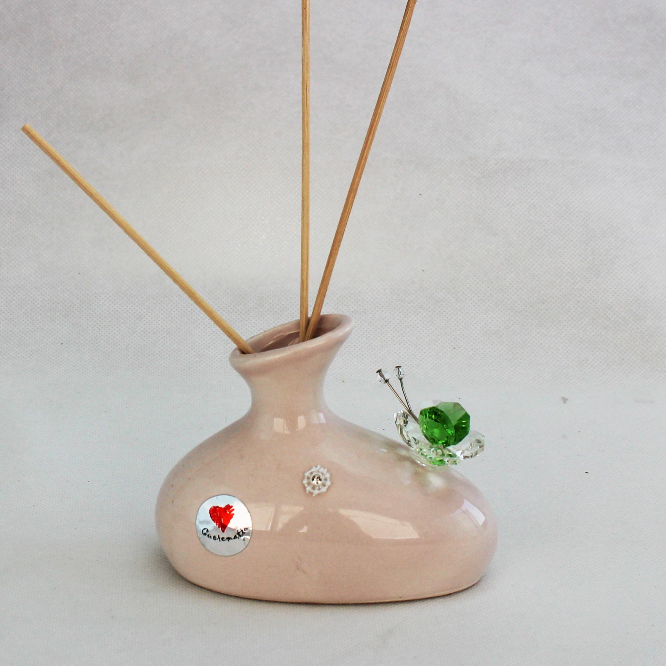 Profumatore in ceramica con farfalla cristallo_Verde