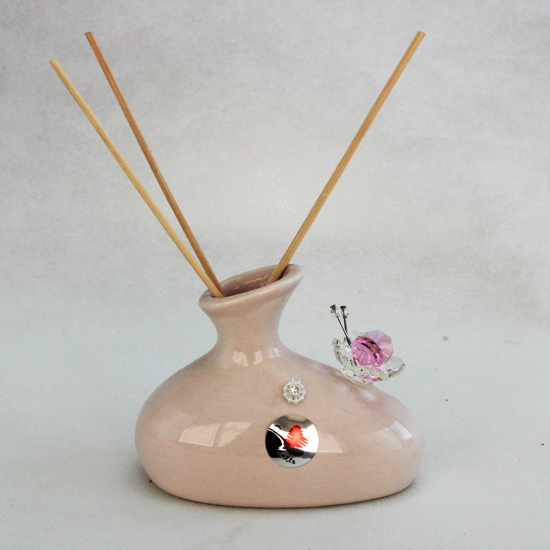Profumatore in ceramica con farfalla cristallo_Rosa