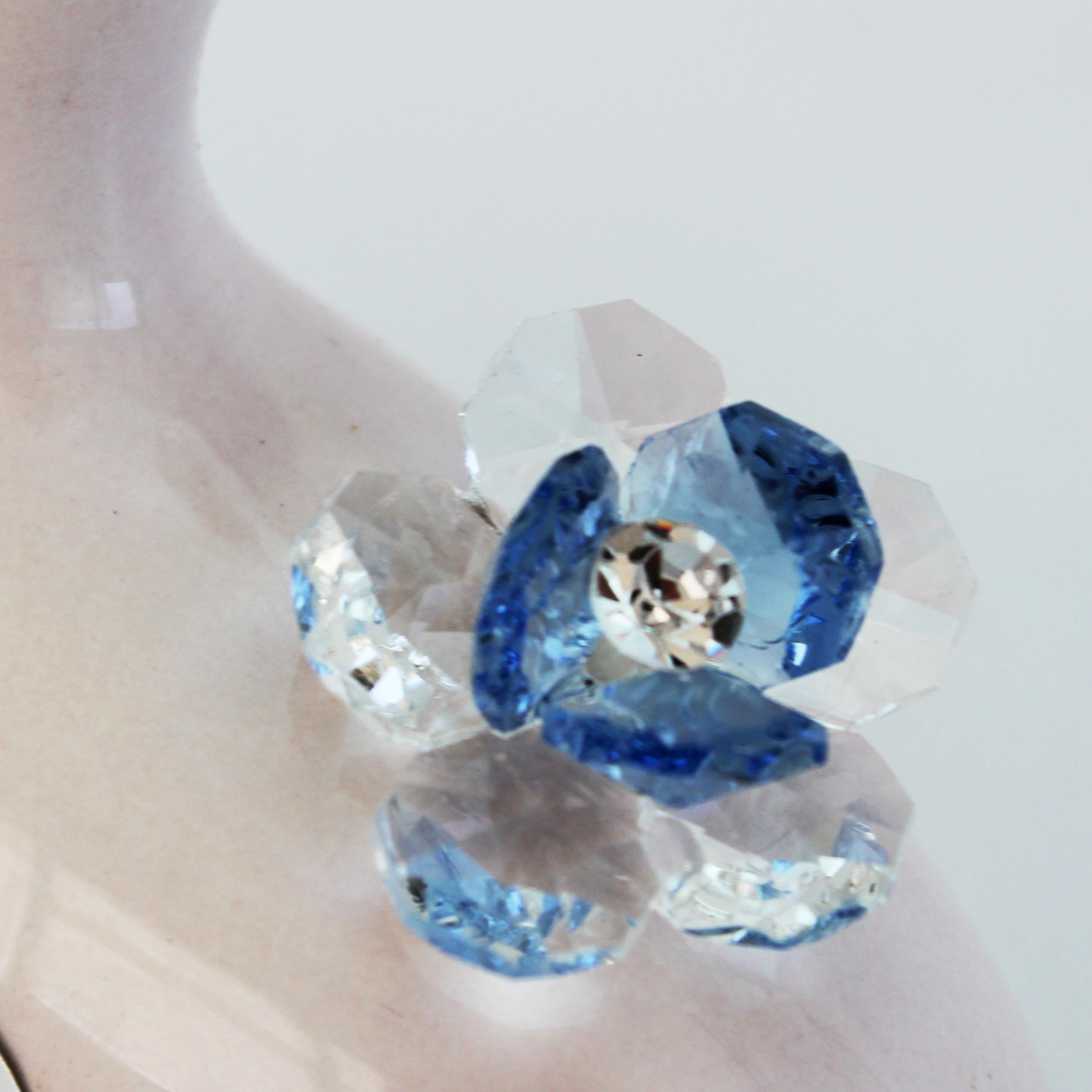 Profumatore in ceramica con fiore cristallo_Azzurro