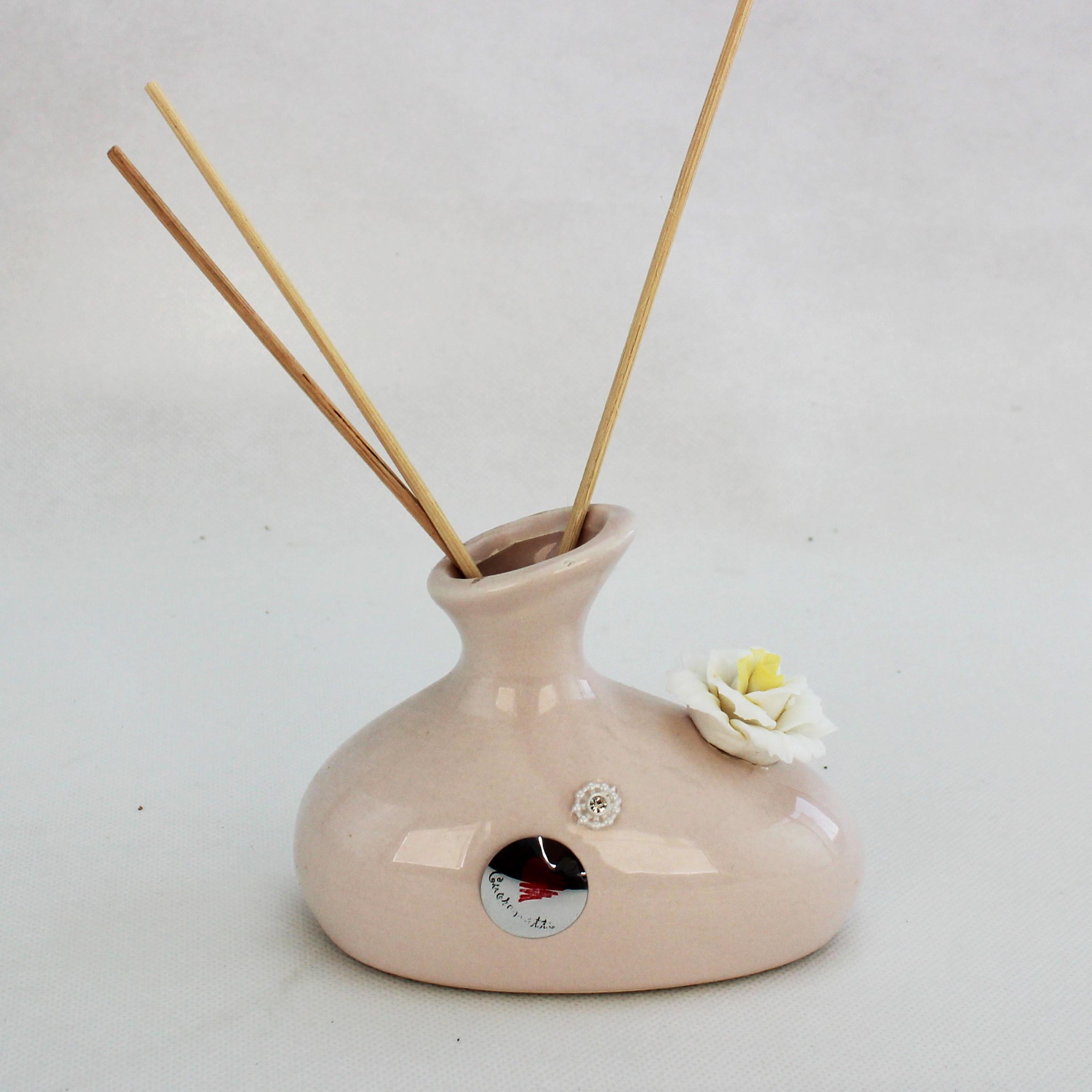 Profumatore in ceramica con fiore cristallo_Capodimonte