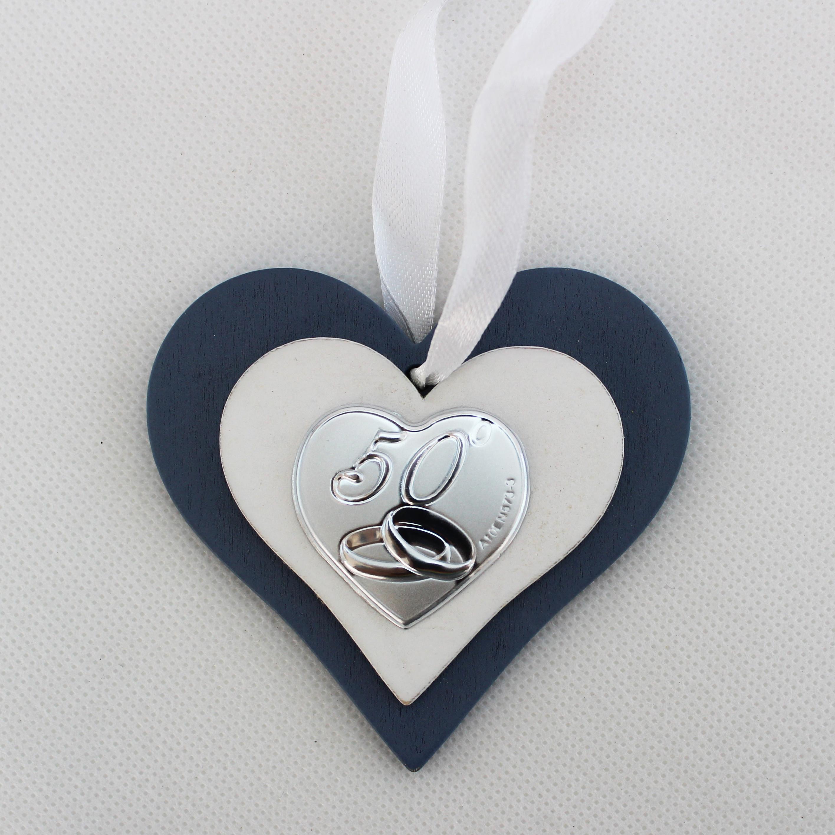 Icona cuore in legno per 50 anniversario matrimonio con scatola