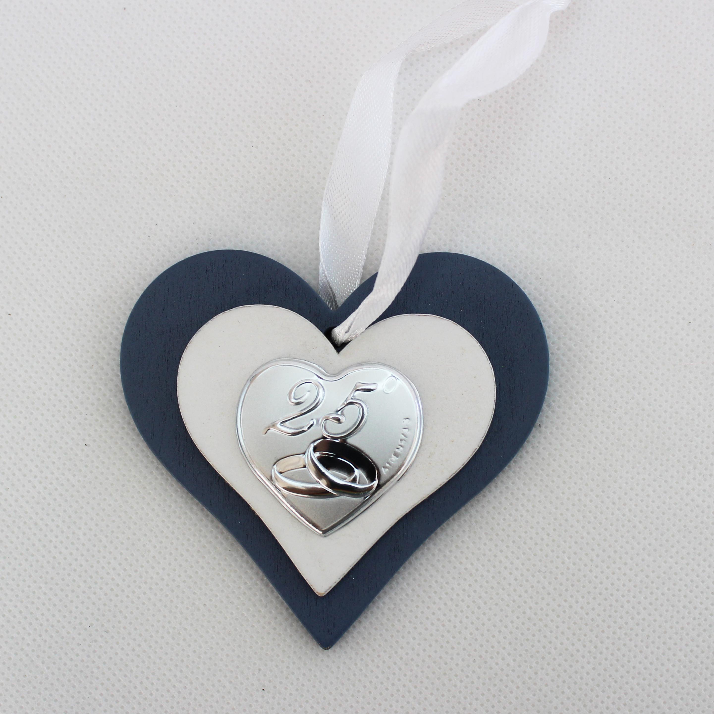 Icona cuore in legno per 25 anniversario matrimonio con scatola