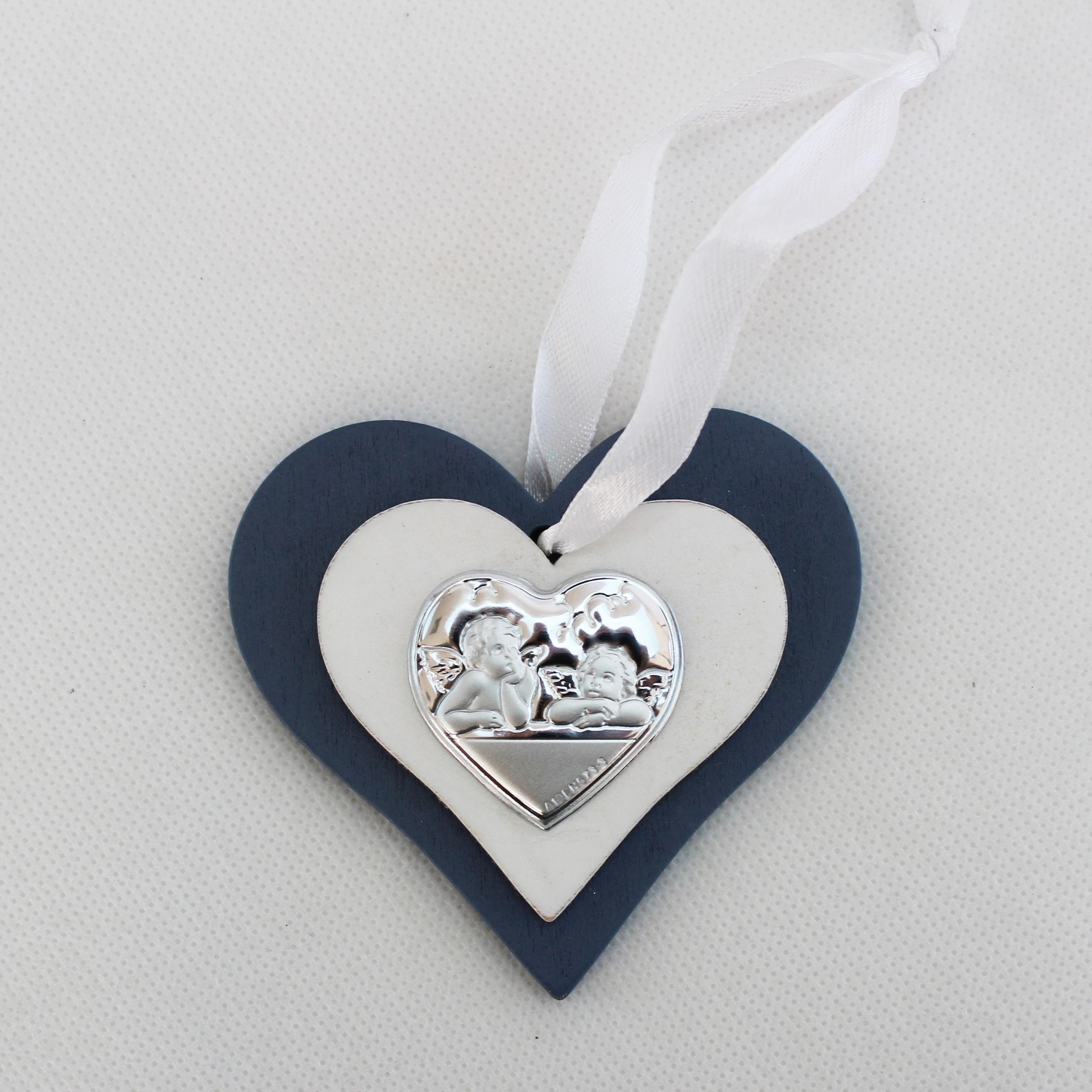 Icona cuore in legno con Angeli con scatola
