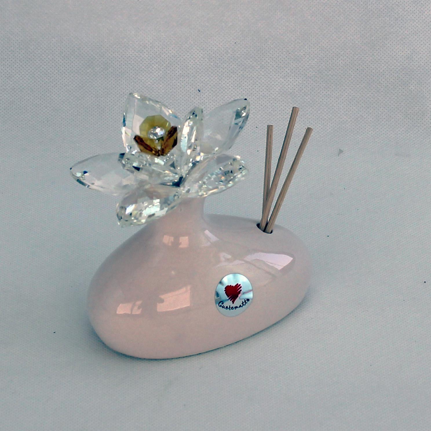 Profumatore in ceramica con fiore grande cristallo_Giallo