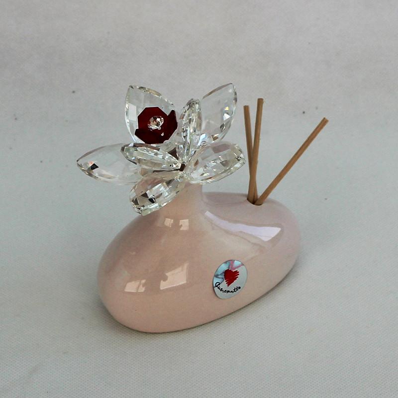 Profumatore in ceramica con fiore grande cristallo_Rosso