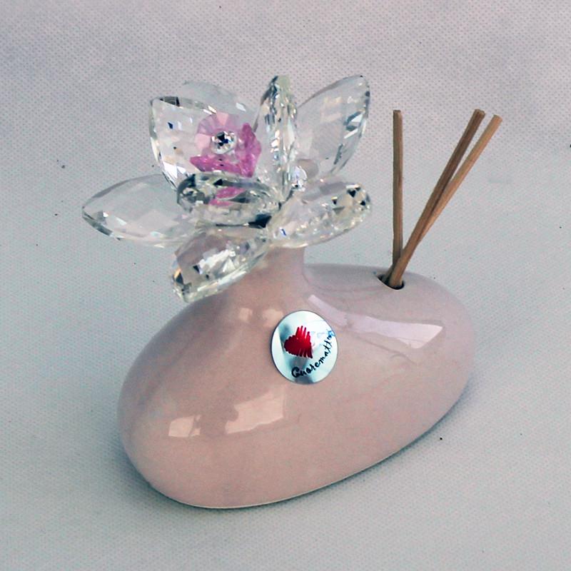 Profumatore in ceramica con fiore grande cristallo_Rosa