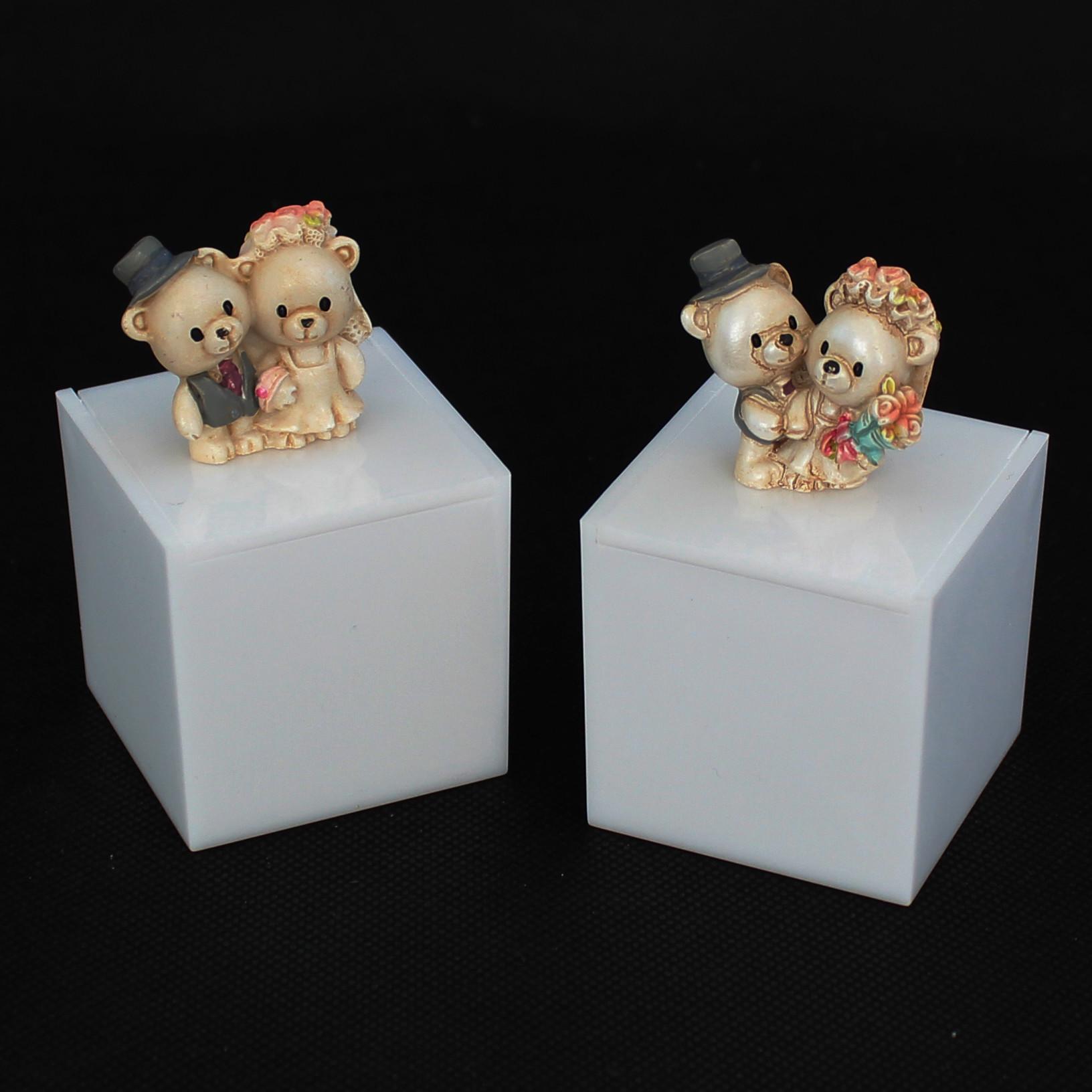 Scatolina in plexiglass con coppia orsi sposi
