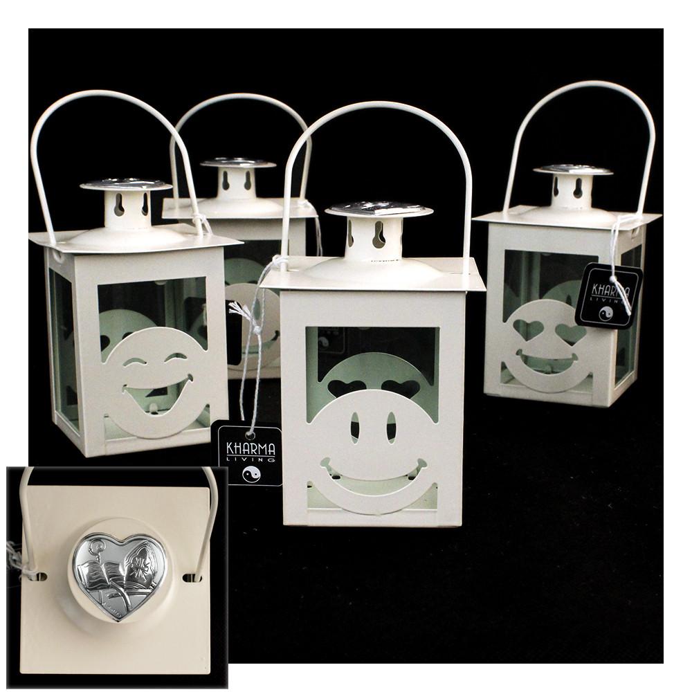 Lanterna Bianca Faccine Emoticon Smile Santa Cresima Kharma Living Shabby Chic