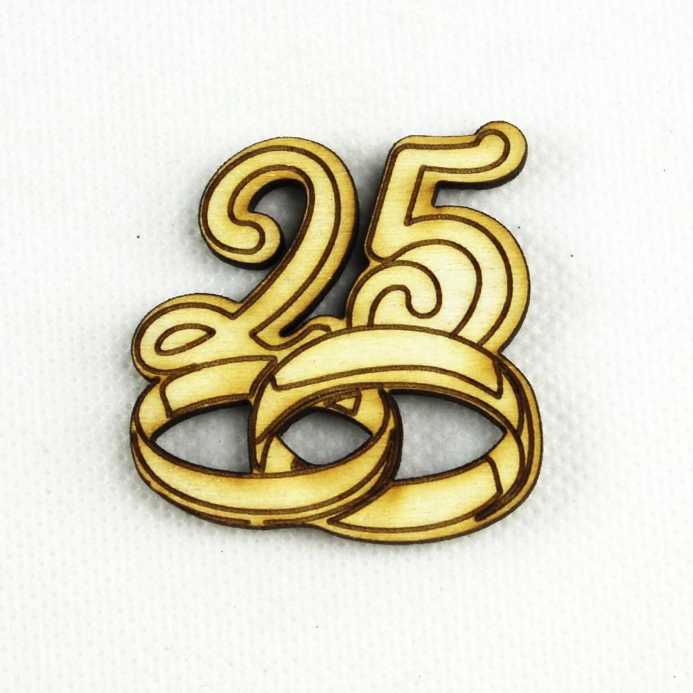 25 Matrimonio Anniversario.Dlm Magnete In Legno Confettata Segnaposto 25 Anniversario Nozze