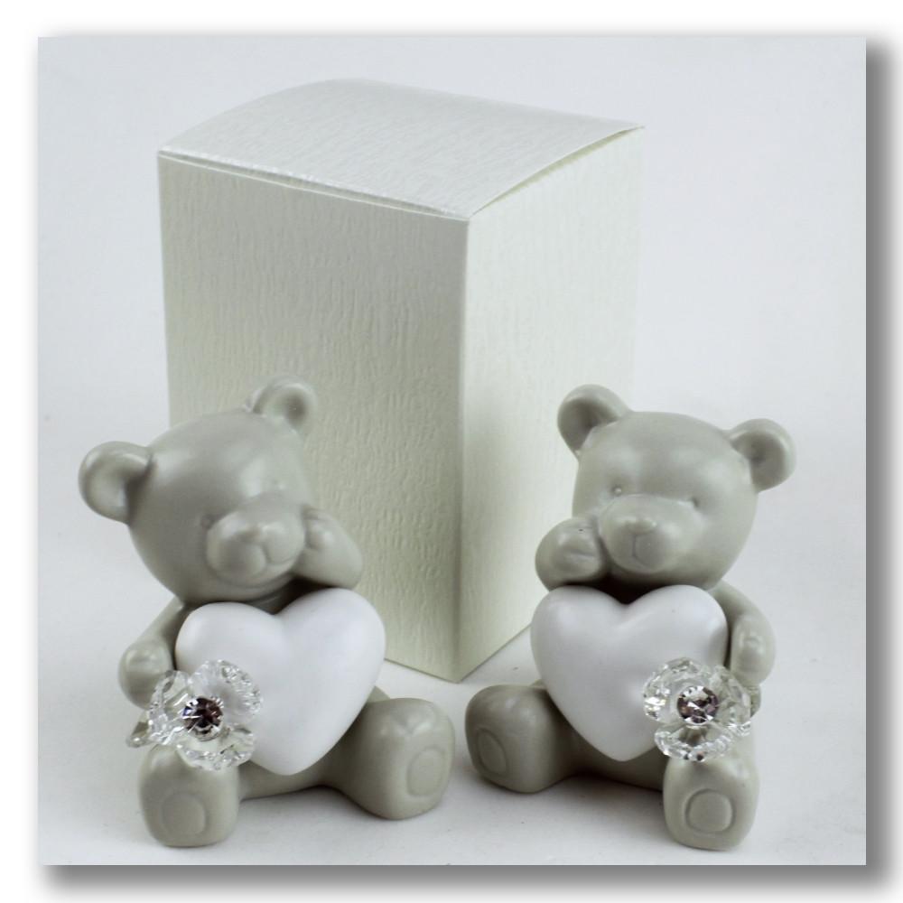 Orso Orsetto Orsacchiotto Cuore in ceramica con Fiore in Cristallo