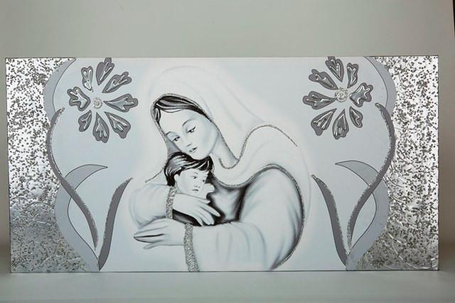 Tela decorata a mano, con rifiniture e glitter in argento