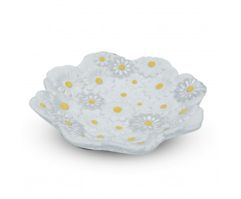 Piattino in ceramica bianca con margherite