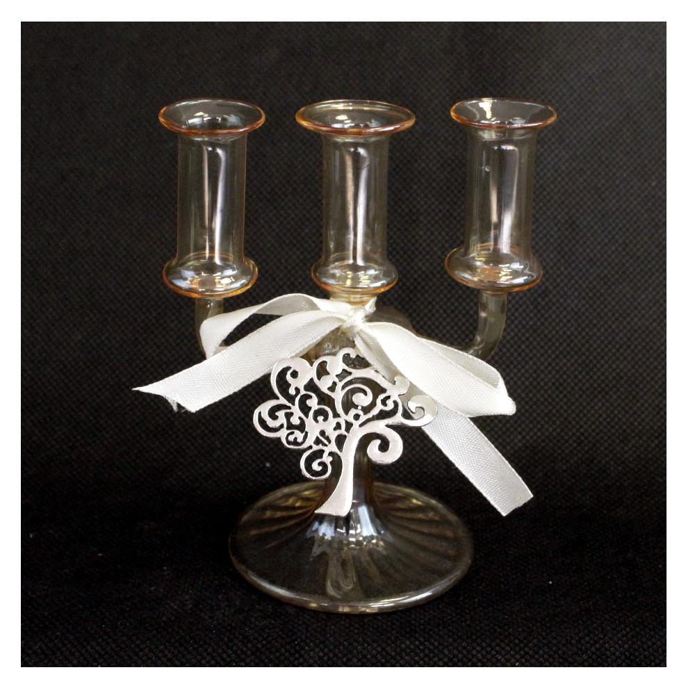 Portacandele Candeliere ambra in vetro soffiato con Albero della Vita Life Tree Matrimonio Battesimo Comunione