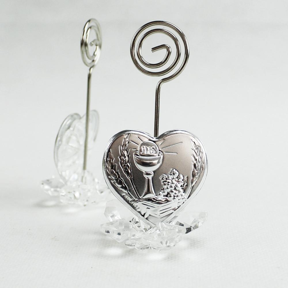 Portafoto Memo Clip fiore in cristallo con Cuore e Calice Comunione