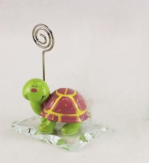 Portafoto Memo Clip in vetro con Farfalla Bruco Tartaruga Rosa