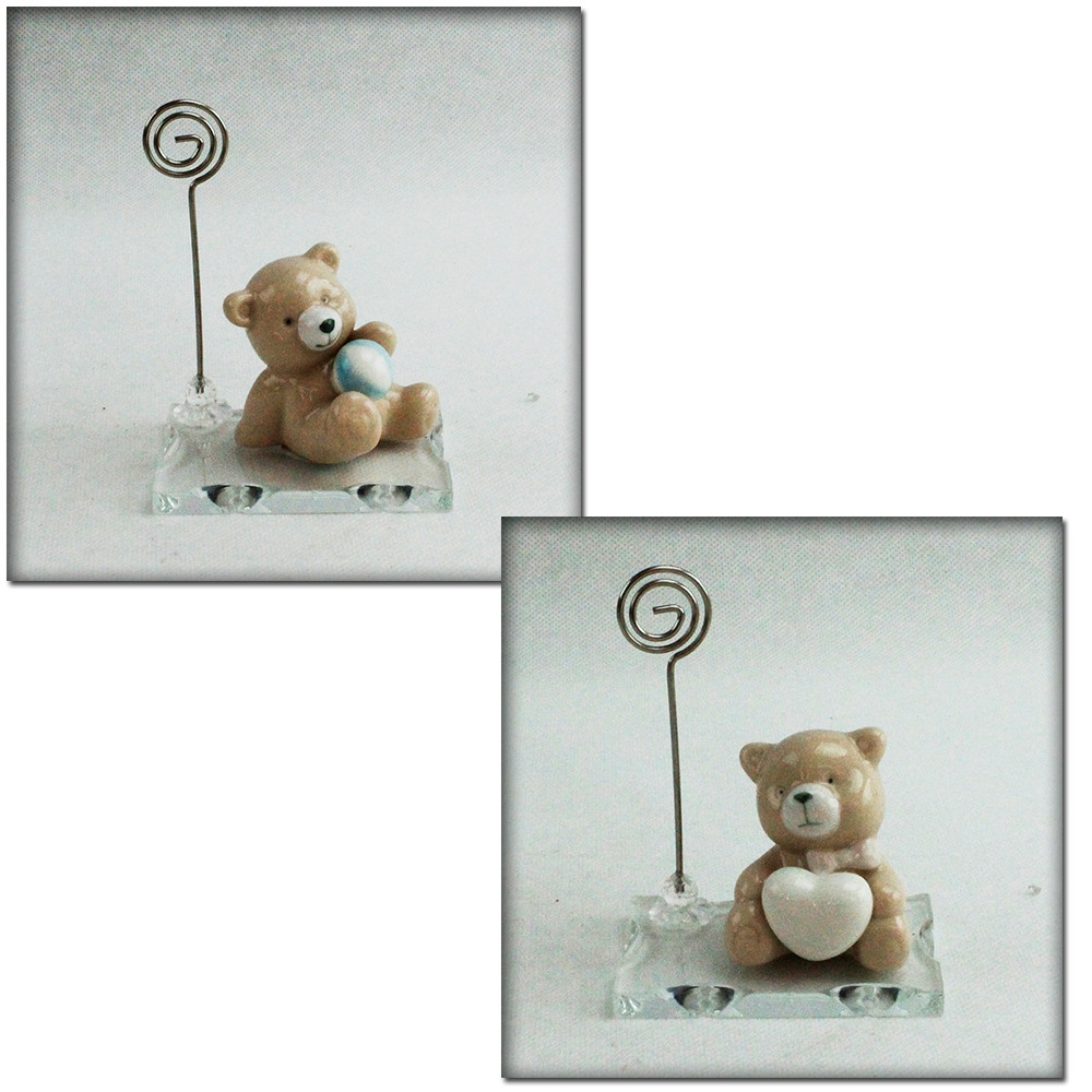 Portafoto Memo Clip in vetro con Orso Orsetto Orsacchiotto in ceramica