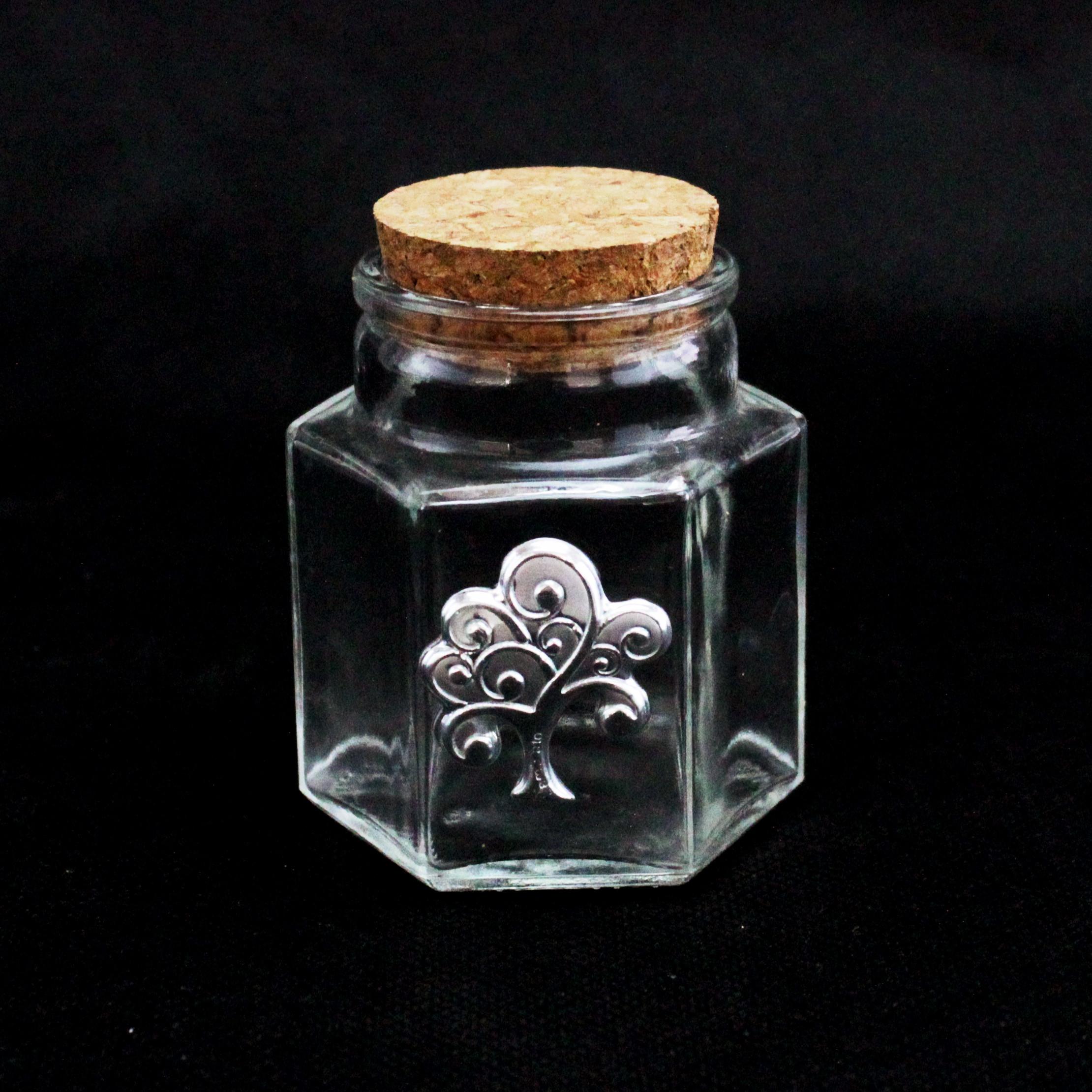Barattolo Esagonale in vetro Albero della Vita