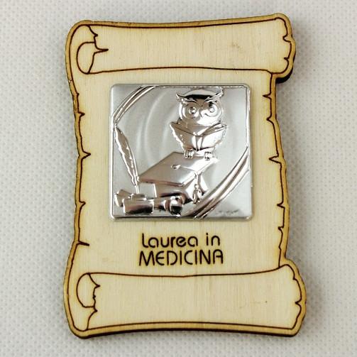 Calamita Magnete Pergamena in legno Laurea in Medicina