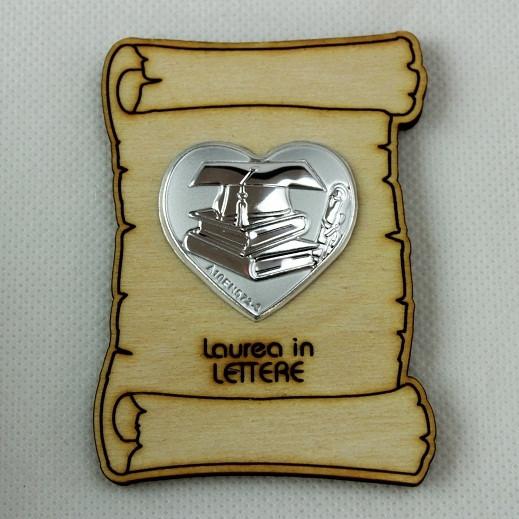 Calamita Magnete Pergamena Cuore Laurea in Lettere