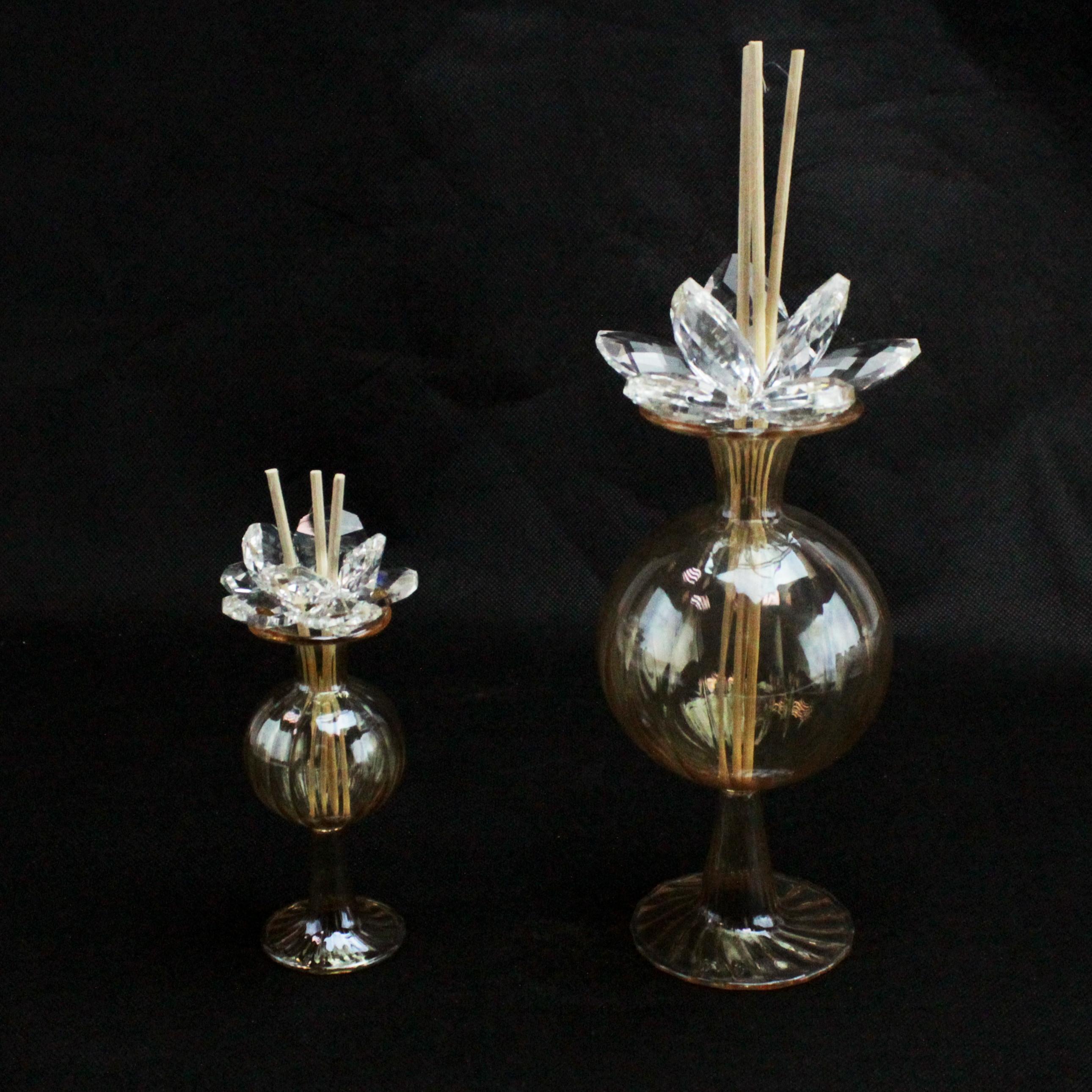 Profumatore in vetro soffiato con Fiore in cristallo