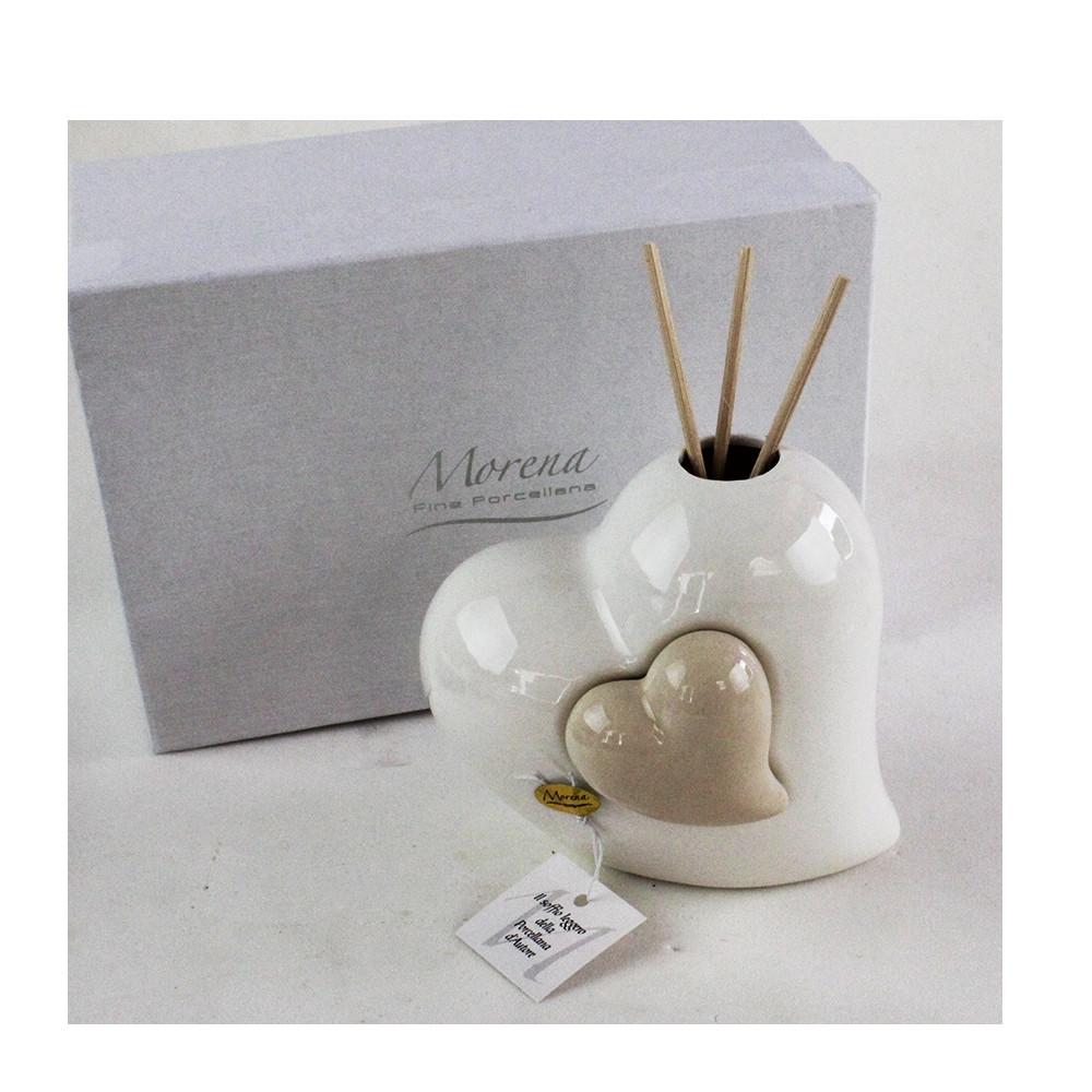 Profumatore Beige Coppia Cuore in ceramica Cuoricino Diffusore per Ambienti Matrimonio Comunione Nozze Battesimo Bomboniera