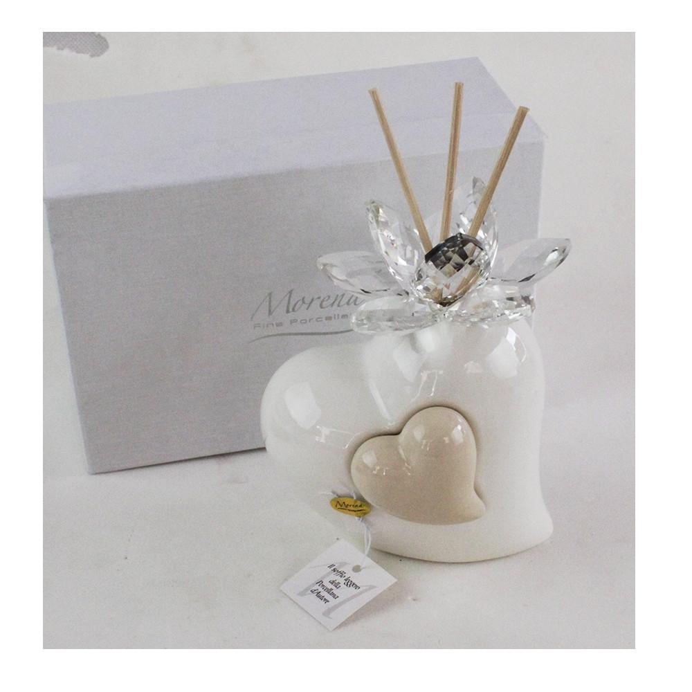Profumatore Beige Coppia Cuore in ceramica Cuoricino e Fiore in Cristallo Diffusore per Ambienti Matrimonio Comunione Nozze Battesimo Bomboniera