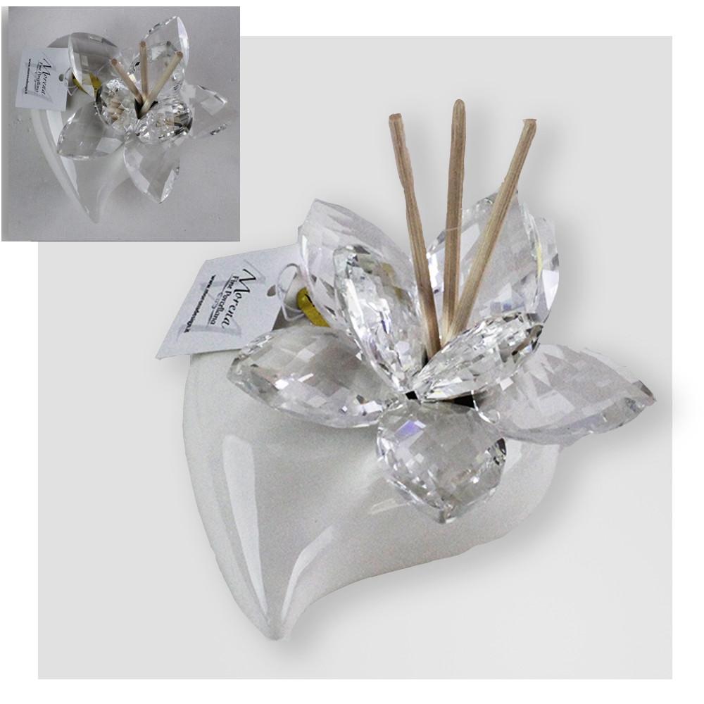 Bomboniere In Cristallo Per Matrimonio.Dlm Profumatore Bianco Cuore In Ceramica Con Fiore In Cristallo