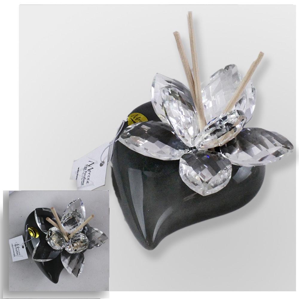 Bomboniere In Ceramica Per Matrimonio.Dlm Profumatore Grigio Cuore In Ceramica Con Fiore In Cristallo