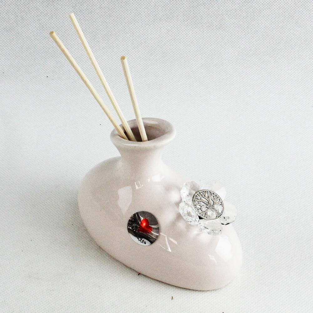 Profumatore in ceramica bianca con Fiore in Cristallo e Albero della Vita