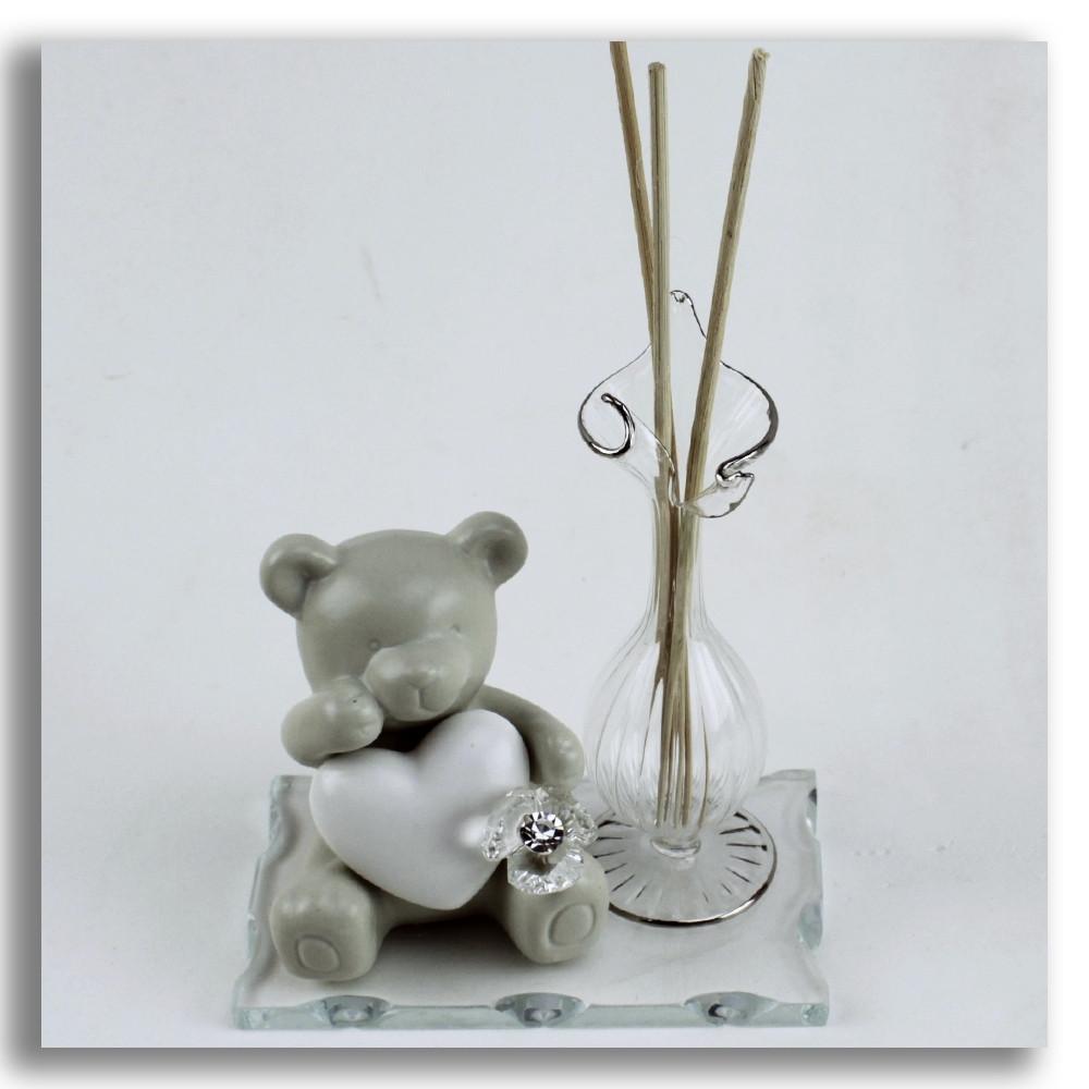 Profumatore in vetro soffiato con Orso Orsetto Cuore e Fiore in Ceramica Diffusore