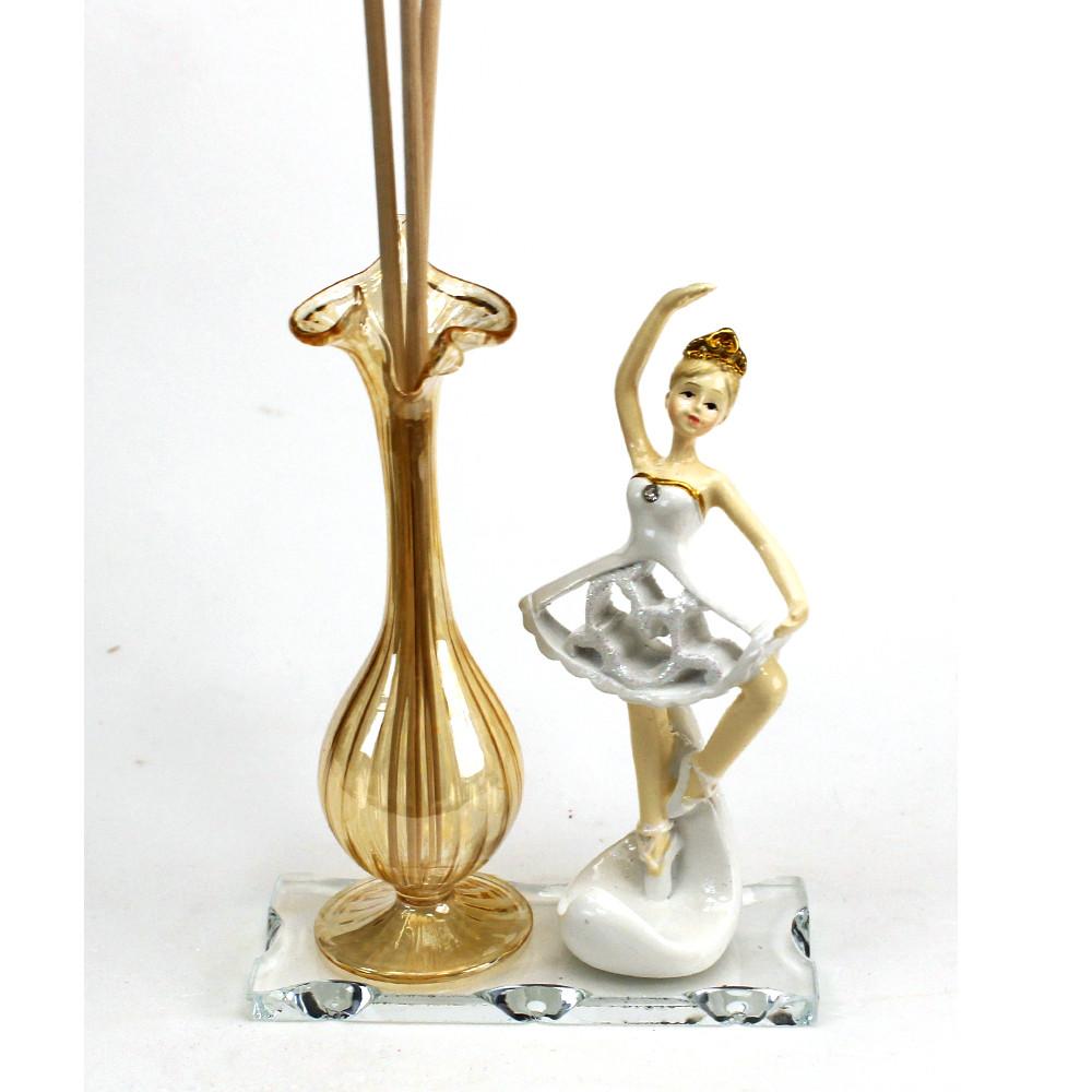 Profumatore in vetro soffiato e Porcellana Ballerina Danza Classica Dance Musica Nozze Battesimo Comunione Diffusore Ambienti