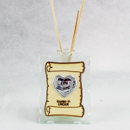 Profumatore in vetro con Pergamena e Piastra Cuore Laurea in Lingue