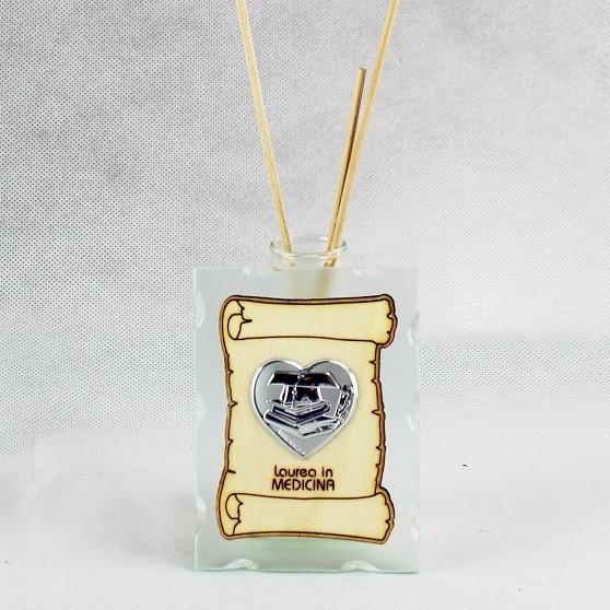 Profumatore in vetro con Pergamena e Piastra Cuore Laurea in Medicina