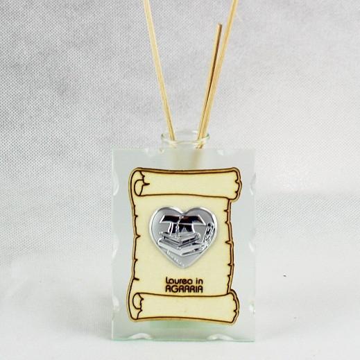 Profumatore in vetro con Pergamena e Piastra Cuore Laurea in Agraria