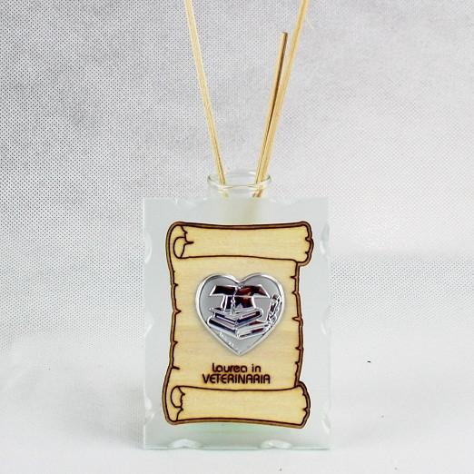 Profumatore in vetro con Pergamena e Piastra Cuore Laurea in Veterinaria