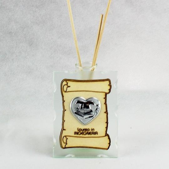 Profumatore in vetro con Pergamena e Piastra Cuore Laurea in Ingegneria
